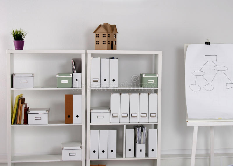 Bookcase with folders. Book case with folders. cabinet stock images