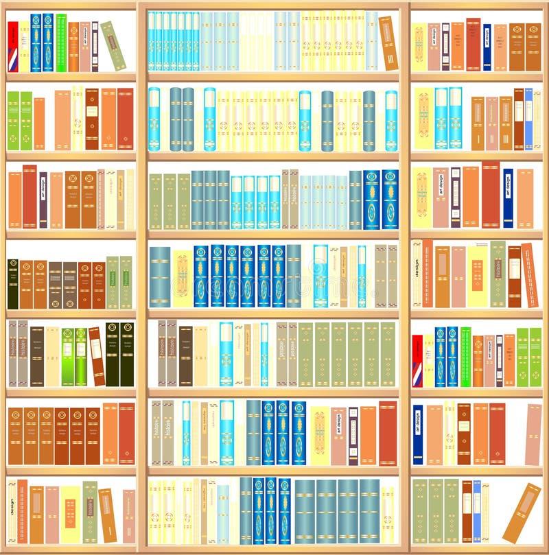 Bookcase full of books stock illustration