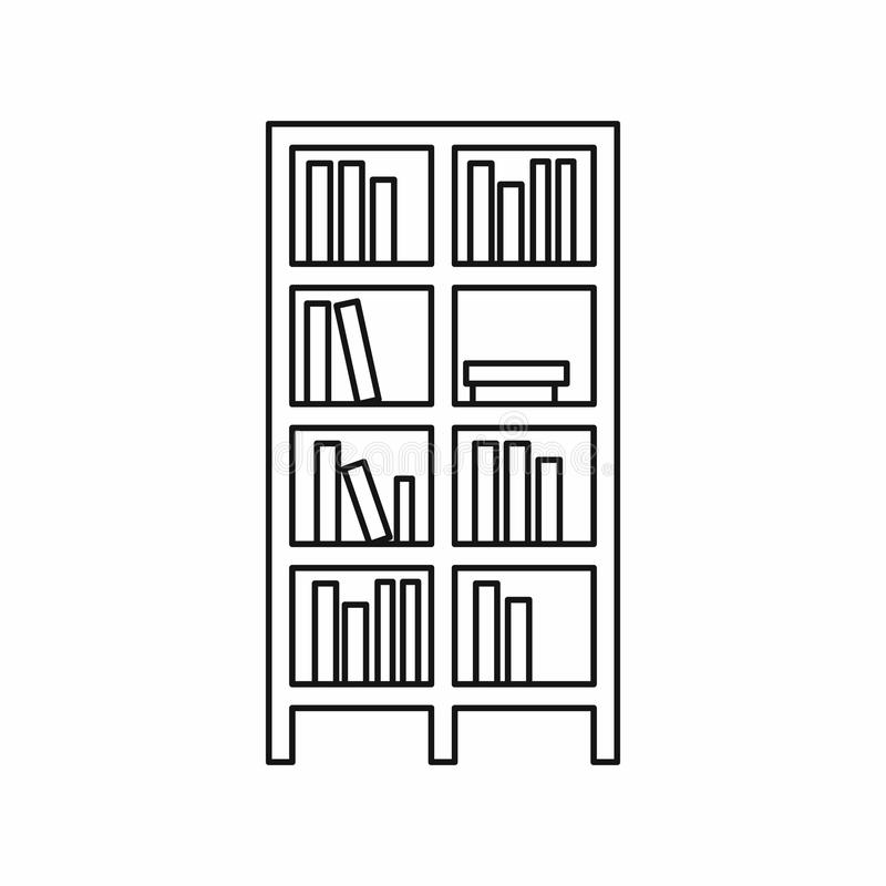 Free Bookcase Icon In Outline Style Stock Photo - 83218830