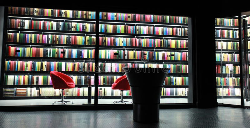 Bookcase of library stock images