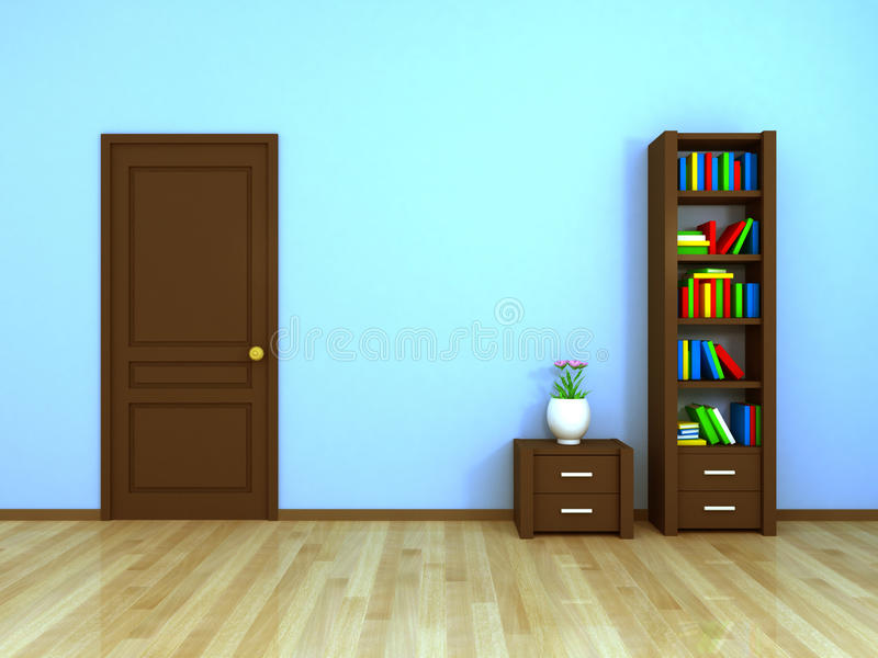 Bookcase and nightstand at the door royalty free stock photo