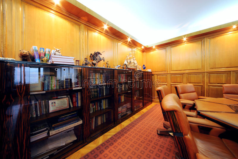 Bookcase in office of company RUSELPROM stock photo
