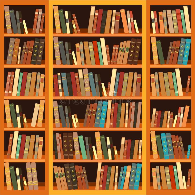 Bookcase pełno książki ilustracji