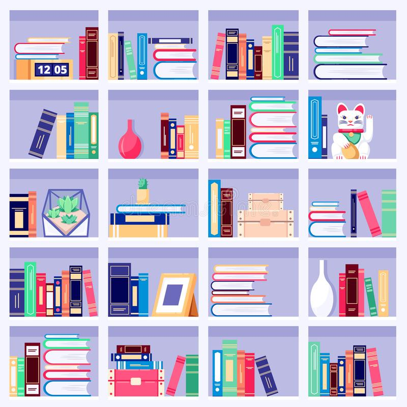 Bookcase wth colorful books and home decor on bookshelves, vector flat illustration. House interior background royalty free illustration