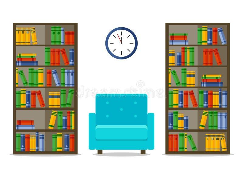 Bookcases и кресло, внутренняя иллюстрация вектора для вебсайта, печати, infographic бесплатная иллюстрация