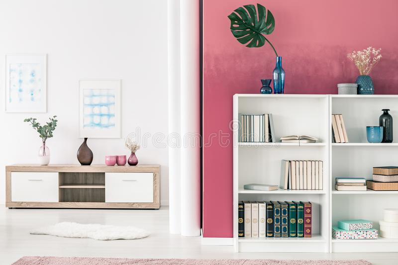 Bookcases in living room stock image. Image of ombre - 114056211