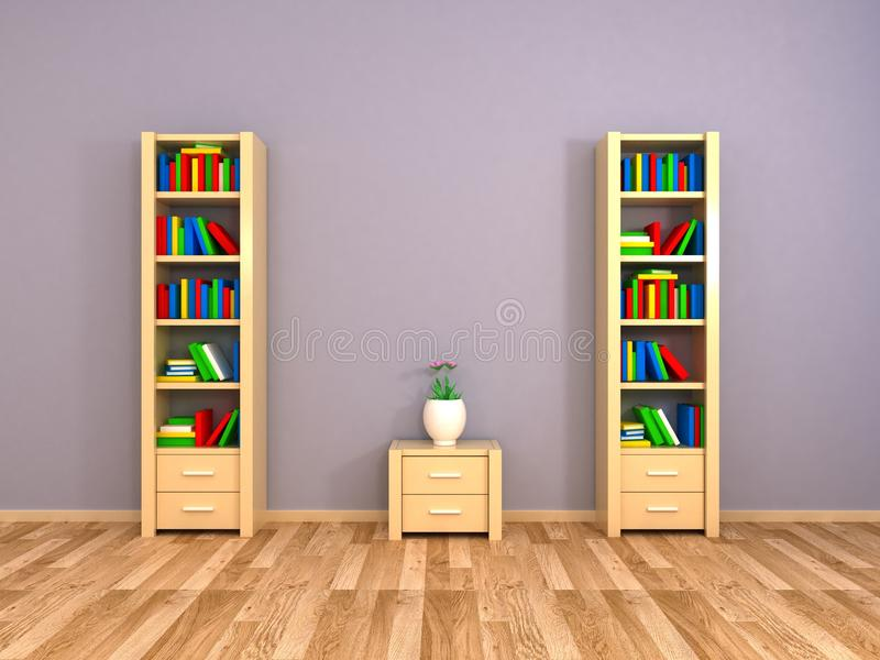 Bookcases at the wall stock image