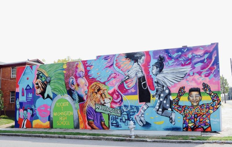 Booker T. Washington High School Mural stock photos