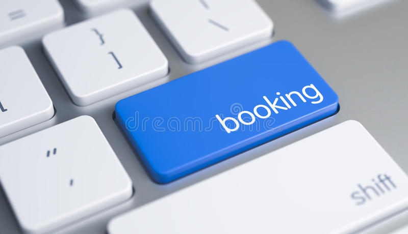 Booking - Caption on Blue Keyboard Button. 3D. vector illustration
