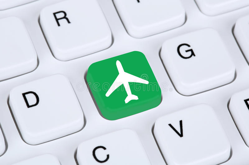 Booking flight and holidays online shopping e-commerce internet royalty free stock images
