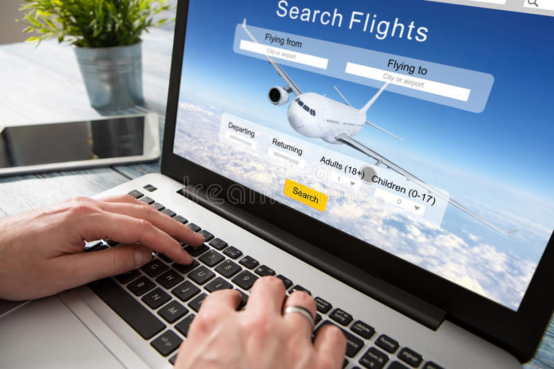 Booking flight travel traveler search reservation holiday page. Booking flight travel traveler search ticket reservation holiday air book research plan job space royalty free stock photo