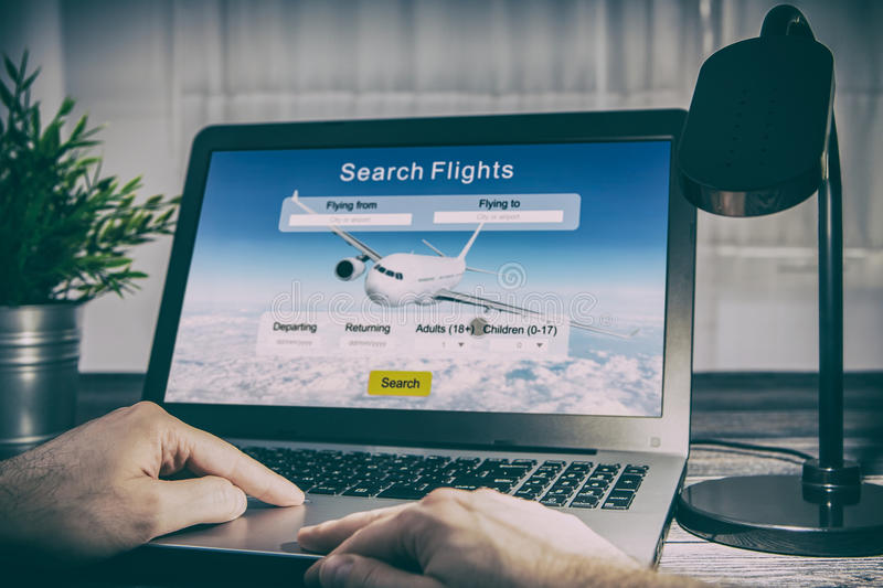 Booking flight travel traveler search reservation holiday page. Booking flight travel traveler search ticket reservation holiday air book research plan job space stock photo