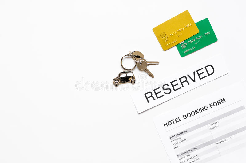 Booking form for hotel room reservation white background top view booking form for hotel room reservation on white table background top view space for text thecheapjerseys Choice Image