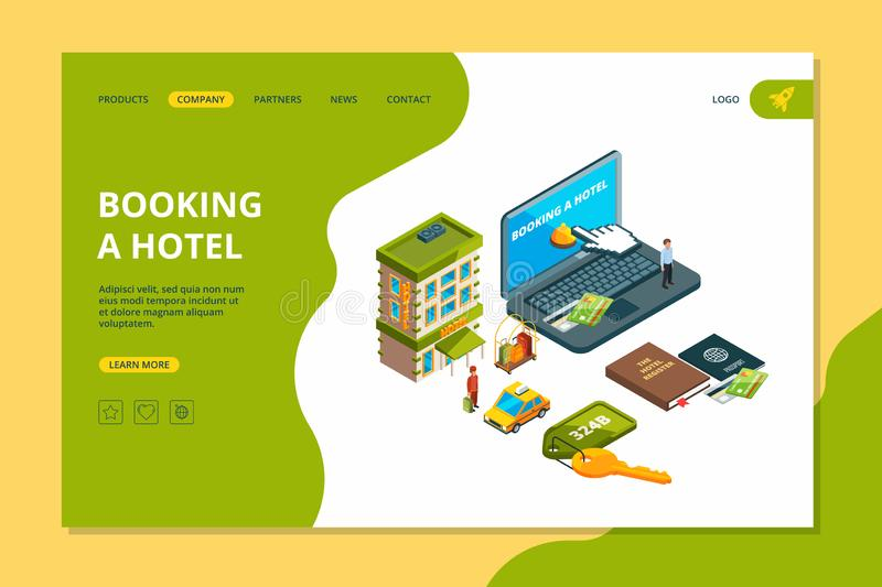 Booking hotel. Order online search reservation hotel room appartment for travellers isometric vector pictures. Illustration of hotel service and online booking vector illustration