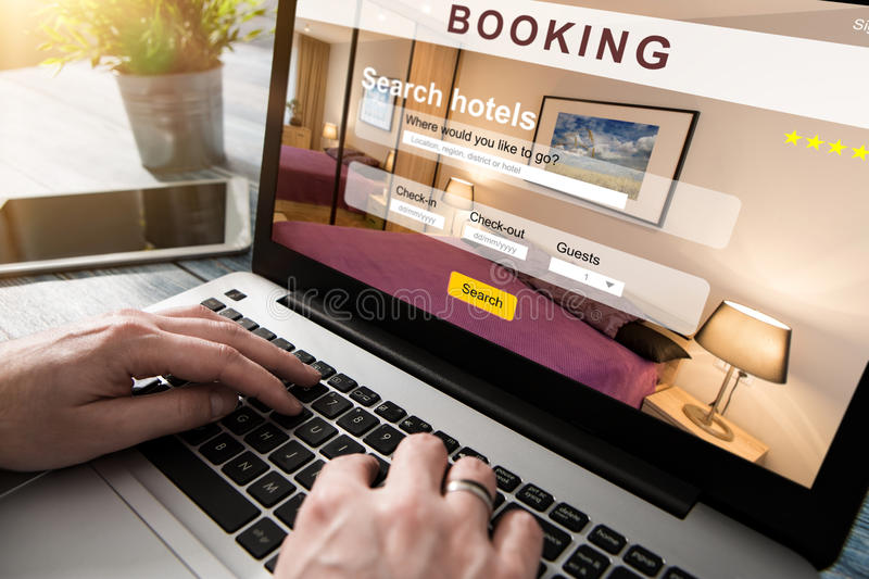 Booking hotel travel traveler search business reservation. Holiday book research plan tourism concept - stock image stock photo
