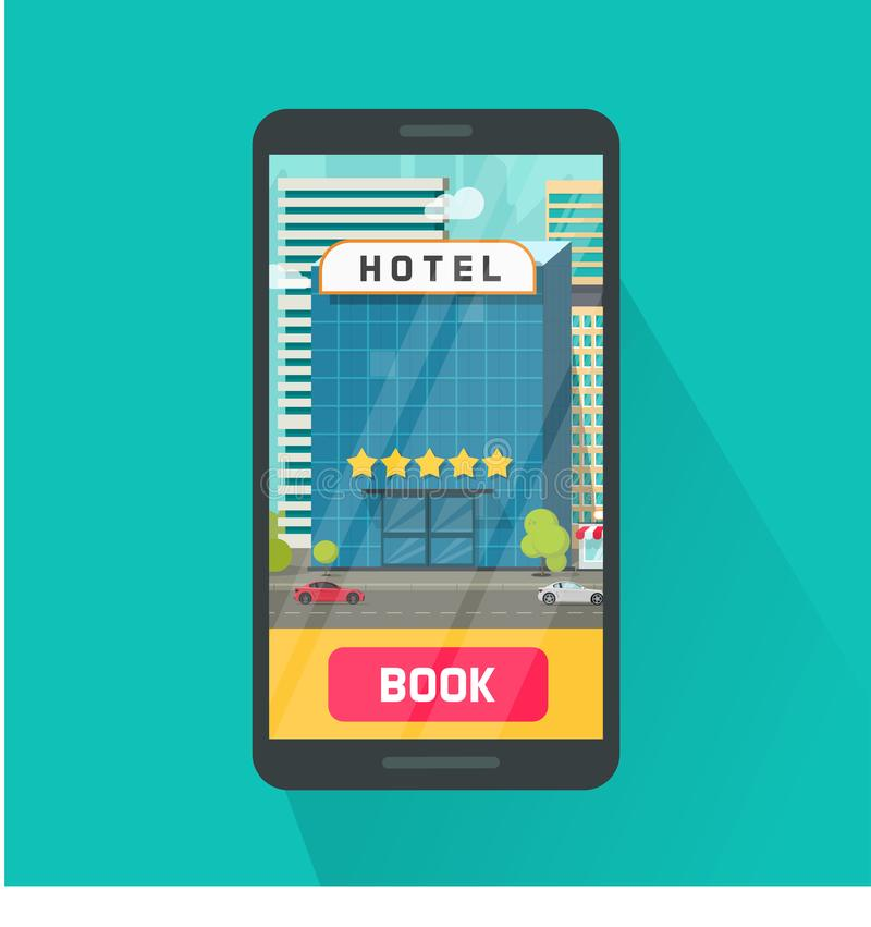 Booking hotel via mobile phone vector illustration, flat cartoon smartphone with 5 stars hotel in city on screen, idea stock illustration