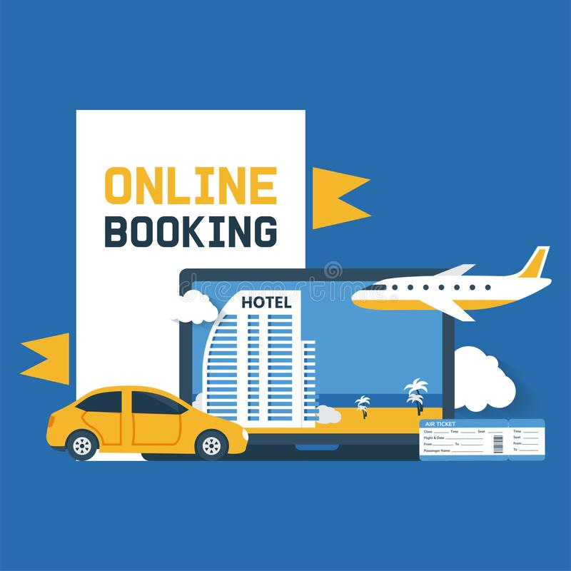 Booking online vector illustration. Electronic purchase confirmation. Hotel, resort, flight ticket or insurance reserve stock illustration