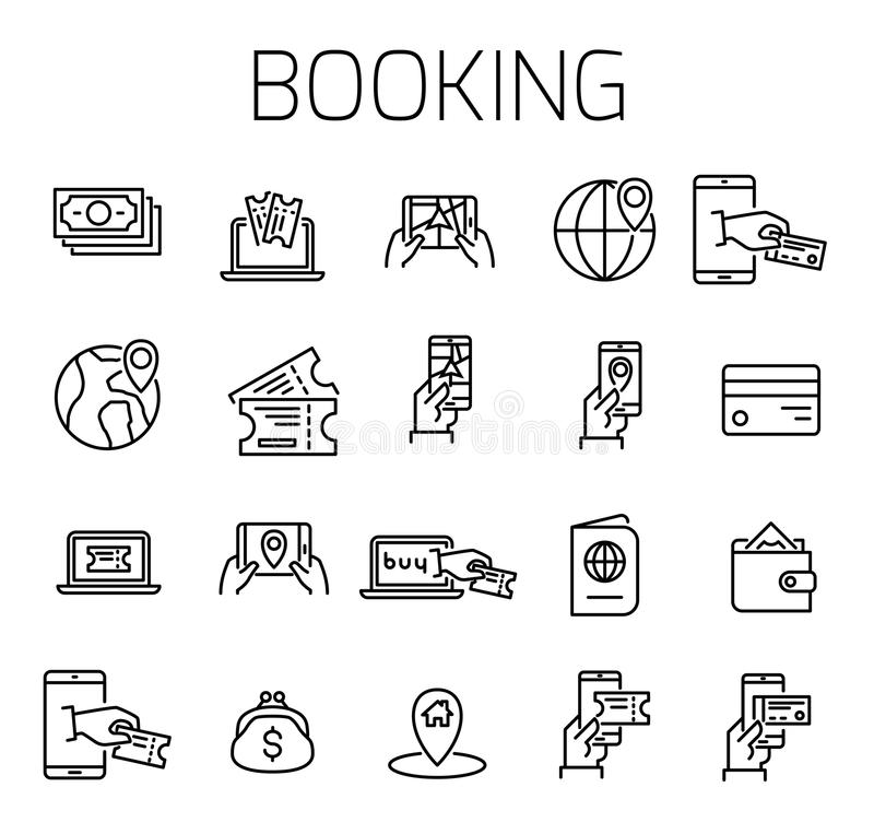 Booking related vector icon set. stock illustration