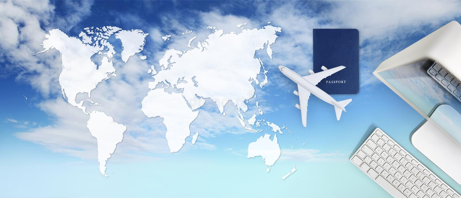Booking and search flight ticket air travel vacation concept, passport, computer and airplane in sky background with global map royalty free stock image