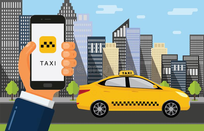 Booking taxi cab via mobile app. Hand holds the phone with taxi service and city skyscrapers with yellow car on background. Vector flat illustration vector illustration