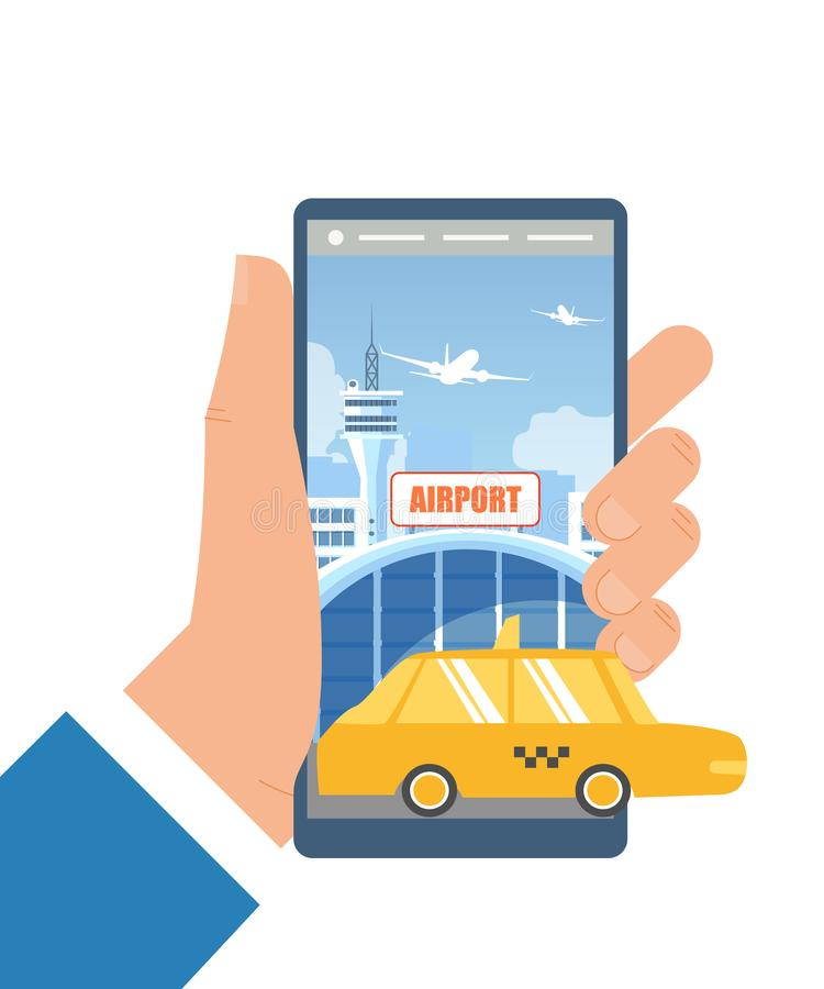 Booking Taxi Car with Mobile App Flat Vector. Booking Taxi for Airport Transfer with Mobile Phone Flat Vector Concept Isolated on White Man Hand Holding vector illustration