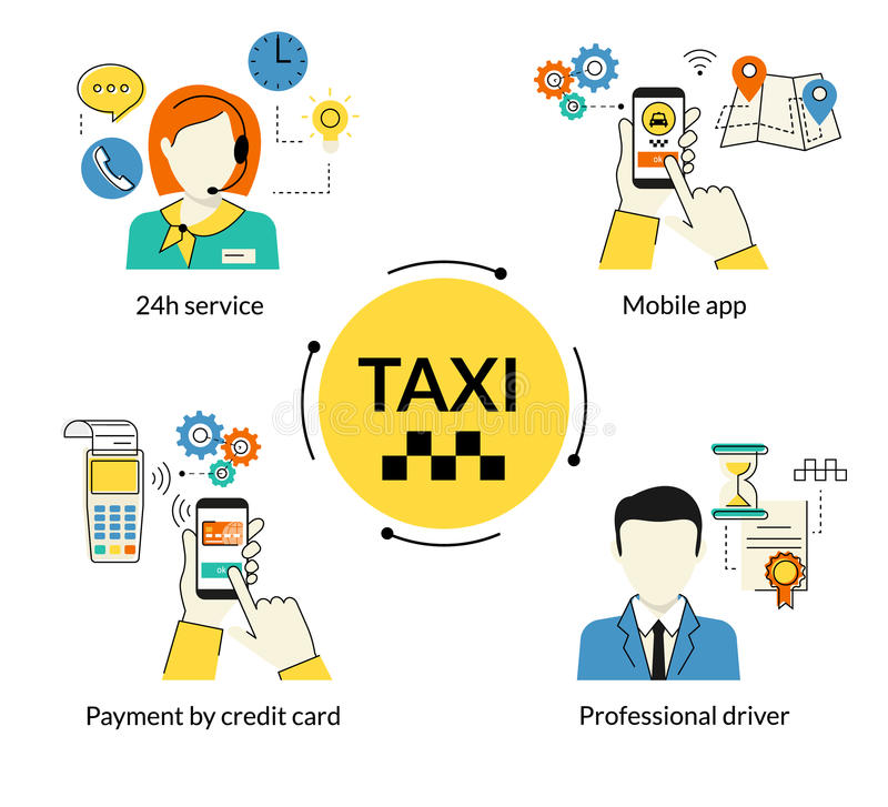 Booking taxi stock illustration