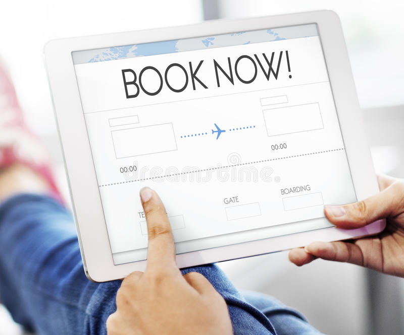 Booking Ticket Air Online Travel Trip Vacation Concept. Booking Ticket Air Online Travel Trip Vacation stock photography