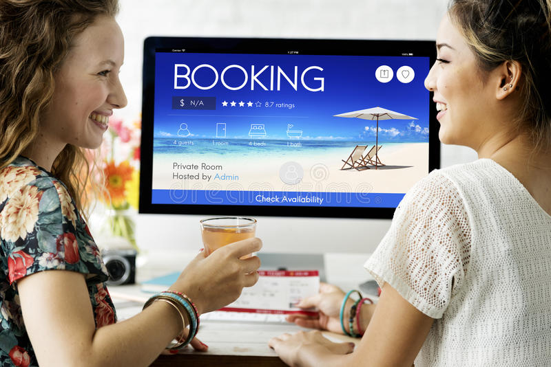 Booking Ticket Online Reservation Travel Flight Concept.  royalty free stock images