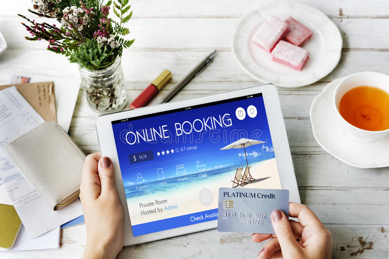 Booking Ticket Online Reservation Travel Flight Concept. Booking Ticket Online Reservation Travel Flight Credit Card royalty free stock photography