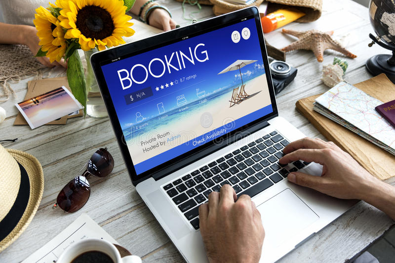 Booking Ticket Online Reservation Travel Flight Concept. Human Hands Using Computer Notebook Booking Ticket Online Reservation Travel Flight stock photos