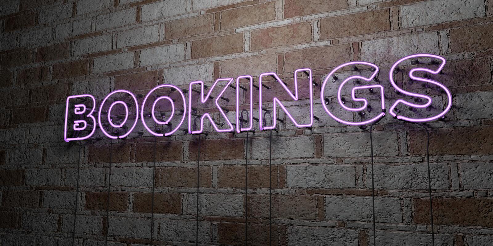 BOOKINGS - Glowing Neon Sign on stonework wall - 3D rendered royalty free stock illustration. Can be used for online banner ads and direct mailers vector illustration
