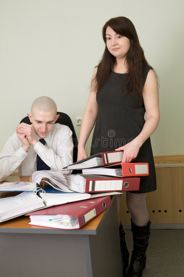 Download Bookkeeper And The Secretary On A Workplace Royalty Free Stock Photos - Image: 8636478