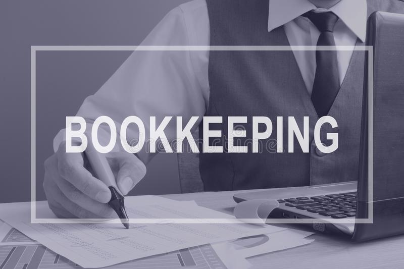 Bookkeeping. Bookkeeper working with financial report. Bookkeeping. Bookkeeper is working with financial report stock illustration