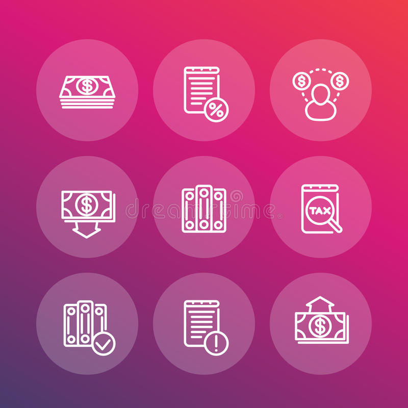 Bookkeeping line icons set, accounting, payroll vector illustration