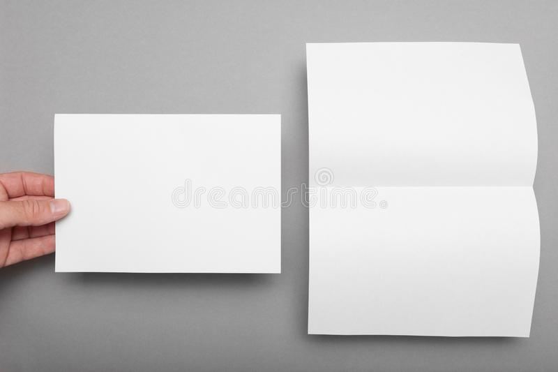 Booklet blank mockup, paper flyer, brochure template.  royalty free stock images