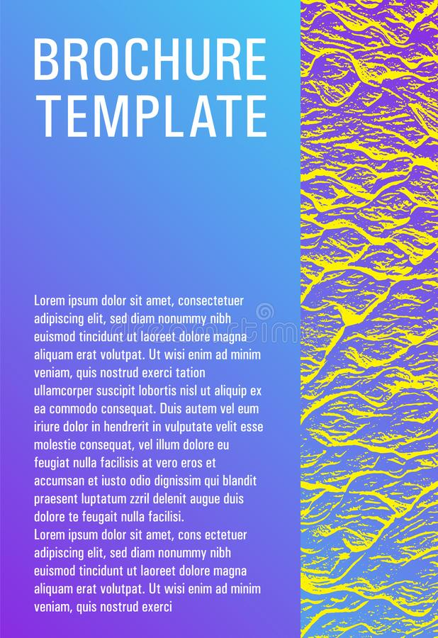 Booklet design vector layout. Violet blue yellow arthouse effect texture. Research development plan cover. Cool booklet vector cover template design. Fluid stock illustration