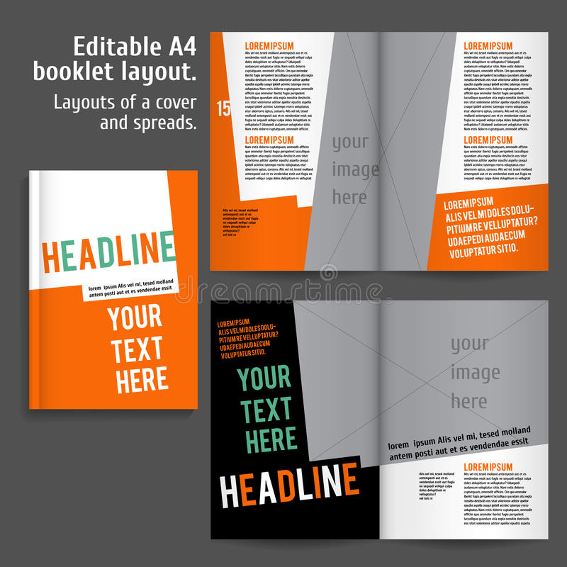 magazine cover template publisher - a4 booklet layout design template with cover stock vector