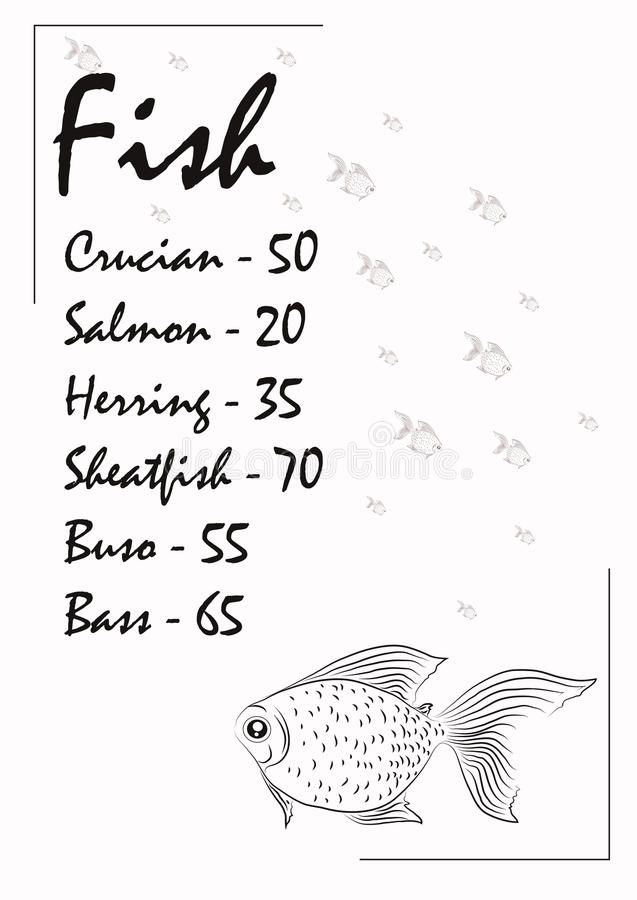 Booklet sales of fish for shop. S. It can be used as a menu of fish dishes in the cafe stock illustration