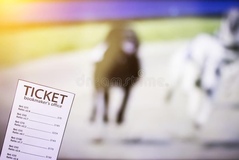 Bookmakerkaartje op de achtergrond van TV waarop de hond looppas toont, sporten die, bookmaker wedden royalty-vrije stock foto