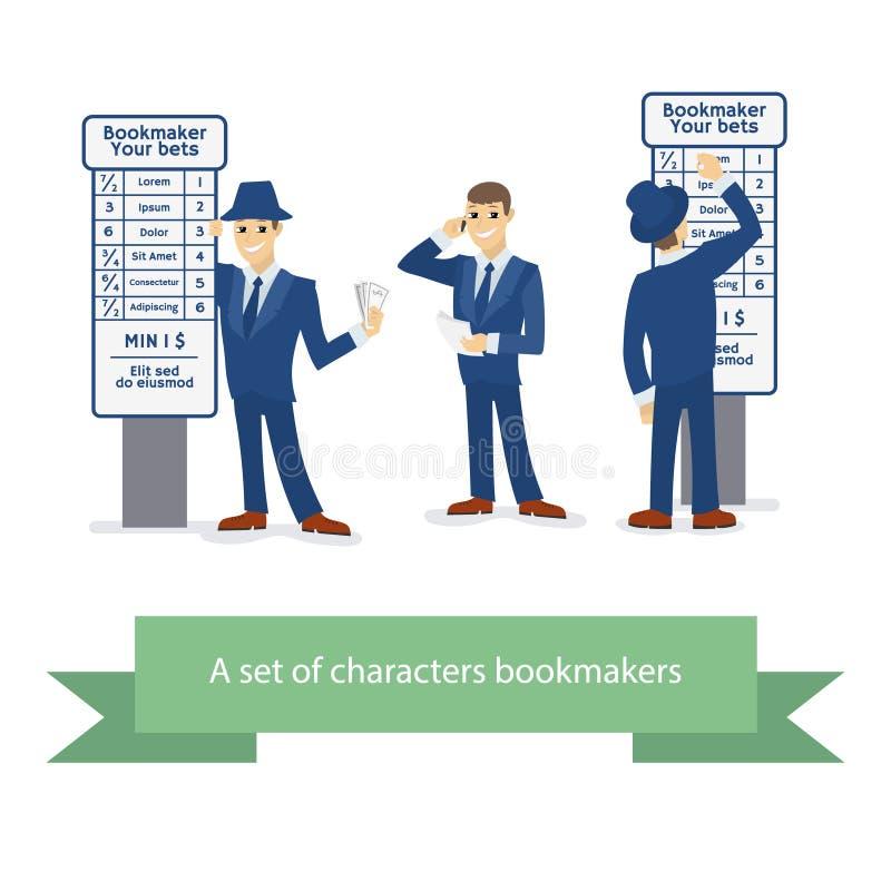 Bookmakertecken, tecknad filmkomikerman också vektor för coreldrawillustration royaltyfri illustrationer