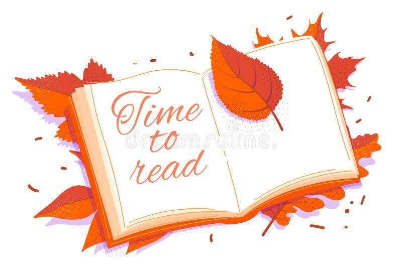 Bookmark Autumn Copy Space Concept con libri e foglie Tempo di lettura illustrazione vettoriale illustrazione di stock