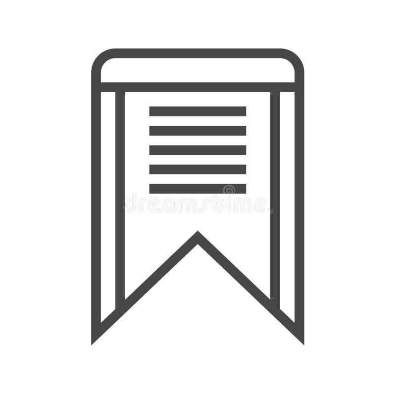 Bookmark-dünne Linie Vektor-Ikone vektor abbildung