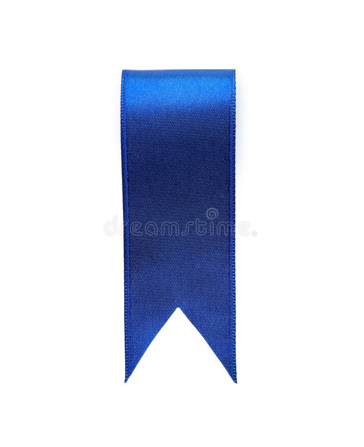 Bookmark des blauen Bandes auf weißem Hintergrund stockbilder