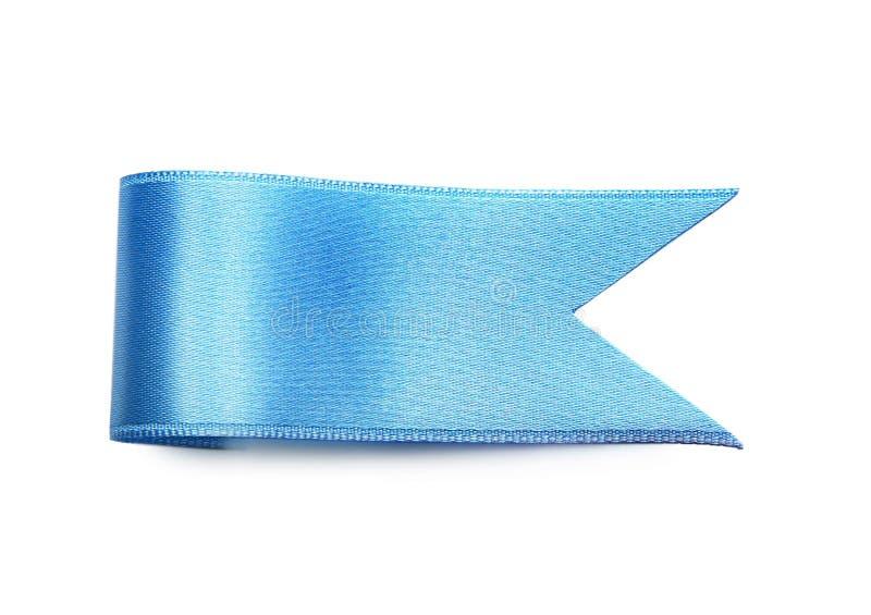 Bookmark des blauen Bandes auf weißem Hintergrund stockfoto