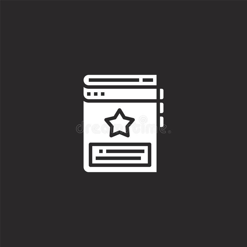 Bookmark icon. Filled bookmark icon for website design and mobile, app development. bookmark icon from filled seo collection. Isolated on black background stock illustration