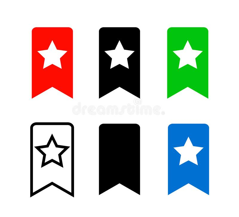 Bookmark Icon. Red, black, green and blue Bookmark Icons isolated on white background. stock illustration