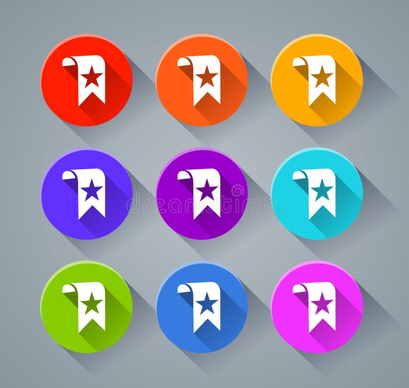 Bookmark icons with various colors stock illustration