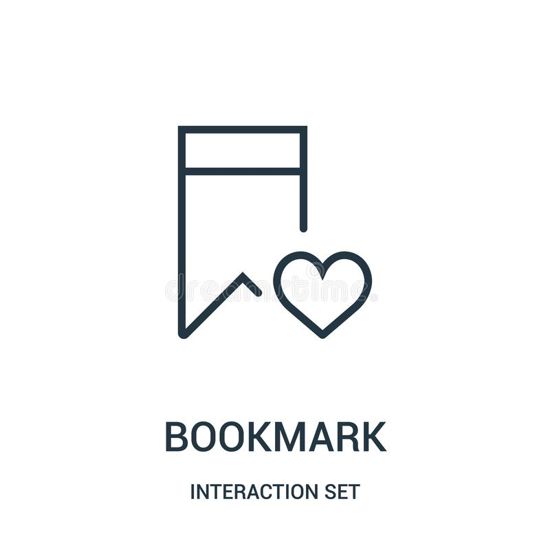 bookmark ikony wektor od interakcji ustalonej kolekcji Cienka kreskowa bookmark konturu ikony wektoru ilustracja ilustracji