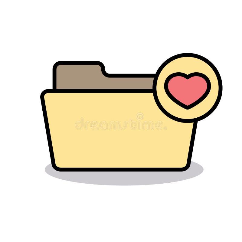 Bookmark il cuore favorito della cartella dei favoriti dei segnalibri come l'icona illustrazione vettoriale
