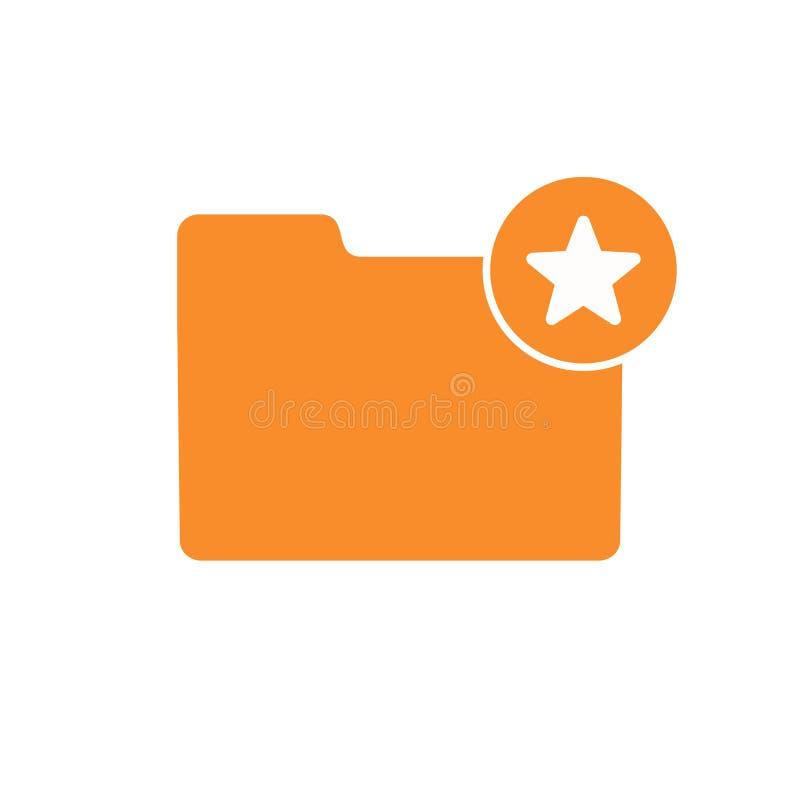 Bookmark la cartella favorita come l'icona della stella del segno di amore illustrazione di stock